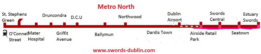 metro north map swords to dublin