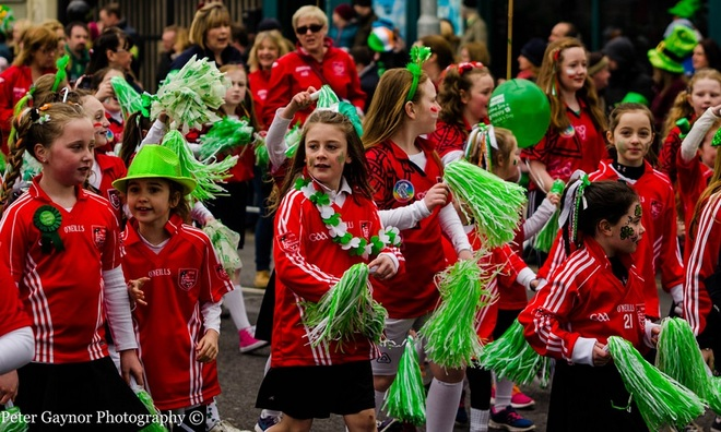 Swords football girls team at St. Patricks day parade